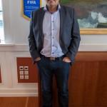 Kaj Leo and his FIFA banner